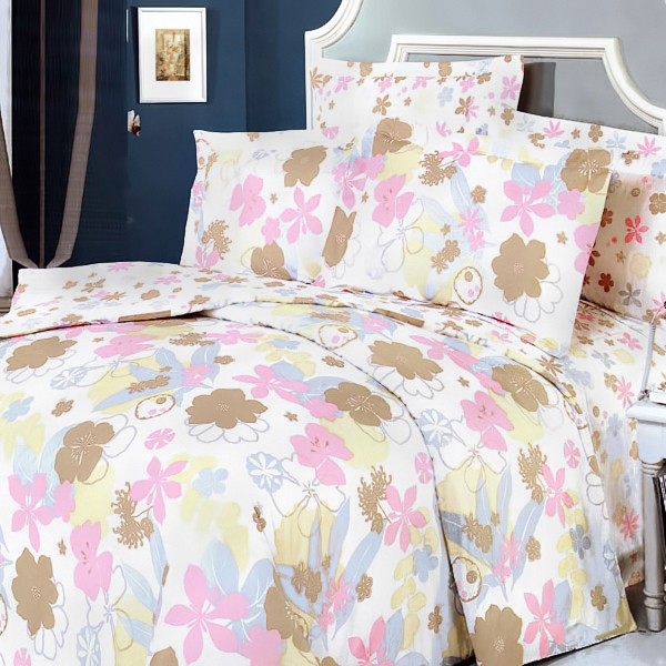 Pink and Brown Flowers 7pc Bed-in-a-Bag