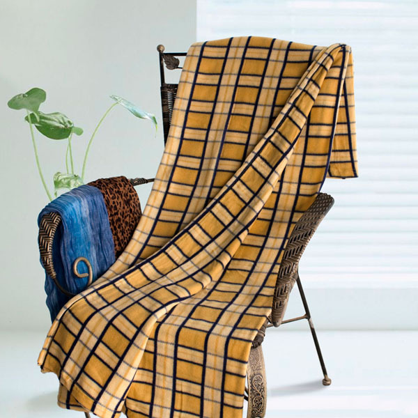 Yellow and Blue Plaid Soft Coral Fleece Throw Blanket
